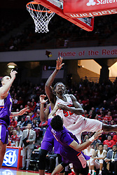 NORMAL, IL - January 05: John Hall gets enough position to get the offensive charge called on Milik Yarbrough during a college basketball game between the ISU Redbirds and the University of Evansville Purple Aces on January 05 2019 at Redbird Arena in Normal, IL. (Photo by Alan Look)