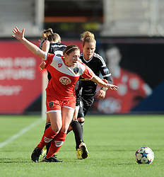 Bristol Academy's Sharla Passariello attempts to break free from FFC Frankfurt's Ana Maria Crnogorcevic's grasp - Photo mandatory by-line: Dougie Allward/JMP - Mobile: 07966 386802 - 21/03/2015 - SPORT - Football - Bristol - Ashton Gate Stadium - Bristol Academy v FFC Frankfurt - UEFA Women's Champions League - Quarter Final - First Leg