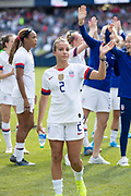 USA forward Mallory Pugh (2) waves to the crowd after an international friendly against South Korea in Chicago, Sunday, Oct. 6, 2019, in Chicago. USWNT tied the Korea Republic 1-1. (Max Siker/Image of Sport)