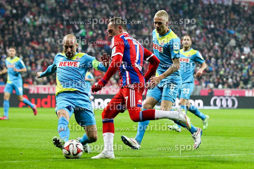 27.02.2015, Allianz Arena, Muenchen, GER, 1. FBL, FC Bayern Muenchen vs 1. FC K&ouml;ln, 23. Runde, im Bild l-r: im Zweikampf, Aktion, mit Miso Brecko #2 (1. FC Koeln), Kevin Vogt #6 (1. FC Koeln) und Franck Ribery #7 (FC Bayern Muenchen) // during the German Bundesliga 23rd round match between FC Bayern Munich and 1. FC K&ouml;ln at the Allianz Arena in Muenchen, Germany on 2015/02/27. EXPA Pictures &copy; 2015, PhotoCredit: EXPA/ Eibner-Pressefoto/ Kolbert<br /> <br /> *****ATTENTION - OUT of GER*****