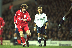 London, England - Monday, December 2, 1996: Liverpool's Steve McManaman scores a goal during the 2-0 Premier League victory over Tottenham Hotspur at White Hart Lane. (Pic by David Rawcliffe/Propaganda)