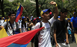 June 24, 2017 - Naguanagua, Carabobo, Venezuela - Resistance youths participate in the march of message to the ff aa nn that was a visit to the fort Paramacay, in Naguanagua, Carabobo state. Photo: Juan Carlos Hernandez (Credit Image: © Juan Carlos Hernandez via ZUMA Wire)