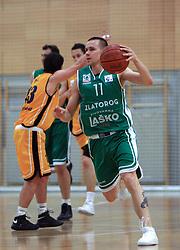 Tadej Kostomaj at 12th Round of UPC League basketball match between KK Luka Koper and KK Zlatorog Lasko, on May 2, 2009, in Arena Bonifika, Koper, Slovenia. Zlatorog won the match 72:71. (Photo by Vid Ponikvar / Sportida)