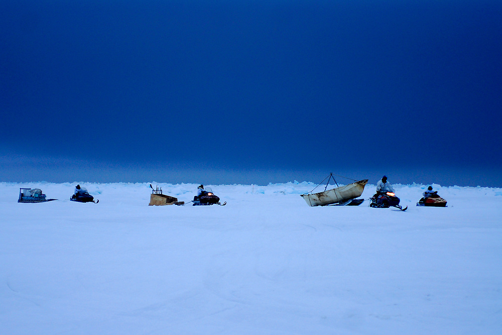Alaska, Barrow. Spring whaling. Henry Ahnatook Kignak crew pulls camp to safer ice after ice conditions (current, wind and ice floes) prooved unsafe. Spring 2007
