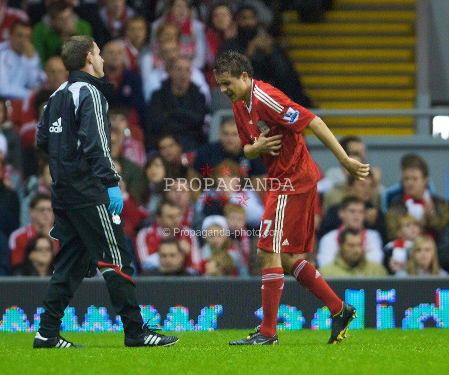 LIVERPOOL, ENGLAND - Tuesday, September 23, 2008: Liverpool's Philipp Degen goes off injured with two broken ribs during the League Cup 3rd round match against Crewe Alexandra FC at Anfield. (Photo by David Rawcliffe/Propaganda)