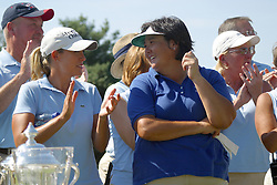04 Sep 2005<br /> <br /> Cristie Kerr winner of the State Farm Bonus Pool and Pat Hurst winner of the Match share a moment.<br /> <br /> LPGA State Farm Classic.  The Rail Golf Course, Springfield (Sherman) Illinois