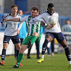 TELFORD COPYRIGHT MIKE SHERIDAN 30/3/2019 - Amari Morgan Smith of AFC Telford and Michael Liddle during the Vanarama National League North fixture between AFC Telford United and Blyth Spartans at the New Bucks Head.