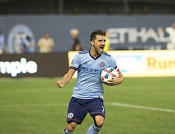 August 20, 2017 - New York, New York, United States - David Villa (7) of NYC FC celebrates scoring goal during regular MLS game against New England Revolution on Yankee stadium NYC FC won 2 - 1  (Credit Image: © Lev Radin/Pacific Press via ZUMA Wire)