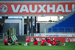 CARDIFF, WALES - Tuesday, August 9, 2011: Wales' players during a training session at the Cardiff City Satdium ahead of the International Friendly match against Australia. (Photo by David Rawcliffe/Propaganda)