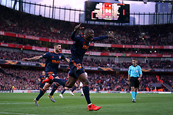 Valencia's Mouctar Diakhaby celebrates scoring his side's first goal of the game