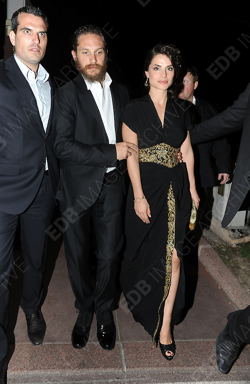 19.MAY.2012. CANNES<br /> <br /> TOM HARDY LEAVING AN AFTERPARTY AT BIOLI BEACH CLUB IN CANNES.<br /> <br /> BYLINE: EDBIMAGEARCHIVE.COM<br /> <br /> *THIS IMAGE IS STRICTLY FOR UK NEWSPAPERS AND MAGAZINES ONLY*<br /> *FOR WORLD WIDE SALES AND WEB USE PLEASE CONTACT EDBIMAGEARCHIVE - 0208 954 5968*