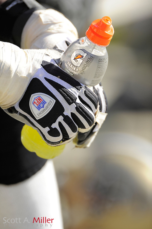 A players holds a Gatorade bottle during the Tampa Bay Buccaneers game against the New Orleans Saints at Raymond James Stadium  on October 21, 2012 in Tampa, Florida. The Saints won 35-28....©2012 Scott A. Miller...