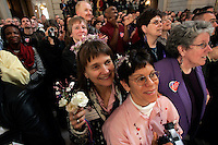 SAN FRANCISCO - FEBRUARY 12: Alice Heimsoth and Christmas Leubrie who were married on Feb 13, 2004 and together for 20 years attend the 1st wedding anniversary bash hosted by Mayor Gavin Newsom in City Hall on Saturday February 12, 2004. Several thousand couples along with their family and friends attended the morning event which will include celebrations throughout the day.  Photograph by David Paul Morris