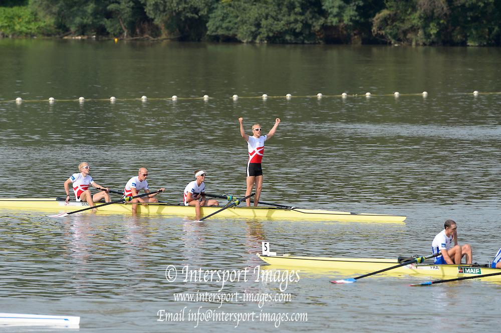 Chungju, South Korea. DEN LM4- Gold Medalist, Kasper WINTHER (b) , Jacob LARSEN (2) , Jacob BARSOE (3) , Morten JOERGENSEN (s)<br /> <br /> 2013 Rowing Championships, Tangeum Lake, International Regatta Course.  Sunday  01/09/2013 [Mandatory Credit. Peter Spurrier/Intersport Images]