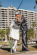 Pop sculpture Unconditional Surrender by artist Seward Johnson resembling a photograph by Alfred Eisenstaedt, V–J day in Times Square along Highway 17 in downtown Sarasota Florida along Bay Front Park.