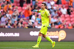 October 22, 2017 - Brisbane, QUEENSLAND, AUSTRALIA - Michael Theo of the Roar (#1) celebrates a goal which was later disallowed during the round three Hyundai A-League match between the Brisbane Roar and the Newcastle Jets at Suncorp Stadium on October 22, 2017 in Brisbane, Australia. (Credit Image: © Albert Perez via ZUMA Wire)