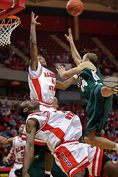 24 February 2008: Dinma Odiakosa takes an offensive foul doled out by Vaughn Duggins In an ESPN Bracket Buster game, the Wright State Raiders were defeated 54-46 by the Illinois State University Redbirds on Doug Collins Court inside Redbird Arena in Normal Illinois.