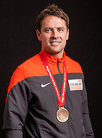 Michael Owen. Portraits of celebrities shortly after they have crossed the line to finish the Virgin Money London Marathon 2014 at the finish line on Sunday 13 April 2014<br /> Photo: Dillon Bryden/Virgin Money London Marathon<br /> media@london-marathon.co.uk