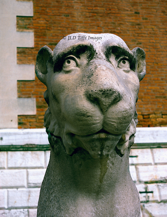 Ancient Greek statue of a lion, possibly from Delos, stolen from Greece by Venetians in 17th century and installed at the 15th century gate of the Arsenale in Venice..