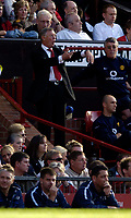 Photo: Jed Wee.<br />Manchester United v Blackburn Rovers. The Barclays Premiership. 24/09/2005.<br /><br />Manchester United manager Sir Alex Ferguson tries to get more injury time from the referee.