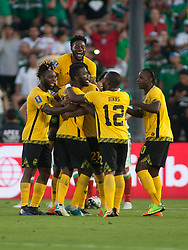 July 23, 2017 - Pasadena, California, U.S - Kemar Lawrence #20 of Jamaica is congratulated after scoring a goal against Mexico in the Gold Cup Semifinal game at the Rose Bowl in Pasadena, California on Sunday July 23, 2017. Jamaica defeats Mexico, 1-0. (Credit Image: © Prensa Internacional via ZUMA Wire)