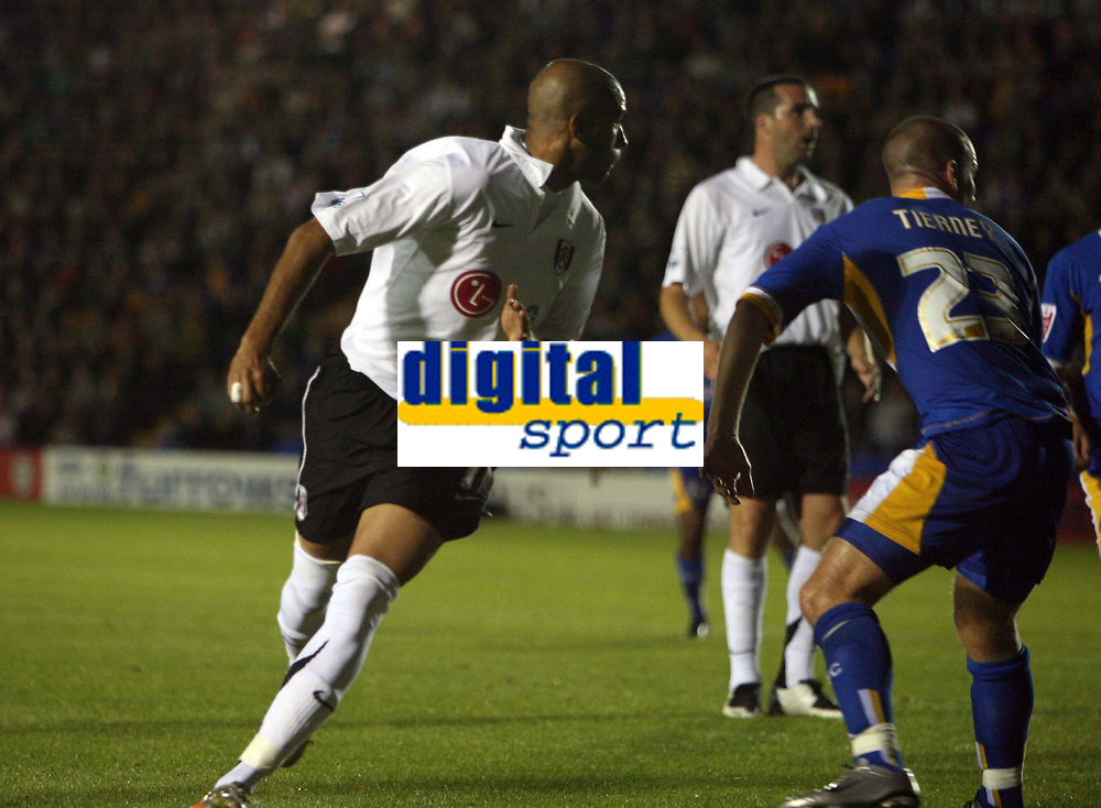 Photo: Rich Eaton.<br /> <br /> Shrewsbury Town v Fulham. Carling Cup. 28/08/2007. Fulham's Diomansy Kamara (l) heads the ball towards goal from a corner and scores.