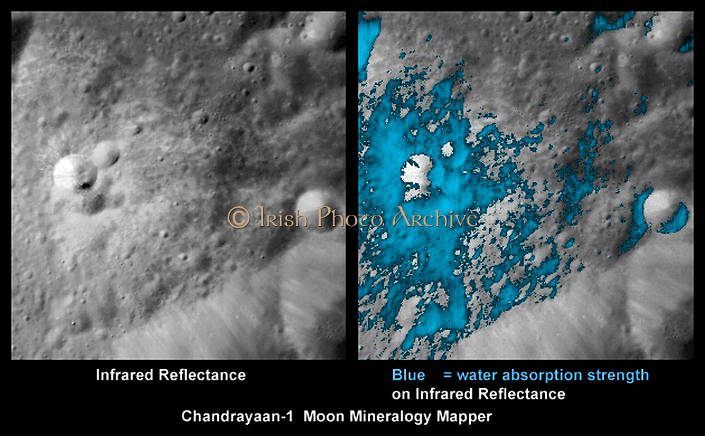 These images show a very young lunar crater on the side of the moon that faces away from Earth, as viewed by NASA's Moon Mineralogy Mapper on the Indian Space Research Organization's Chandrayaan-1 spacecraft. On the left is an image showing brightness at shorter infrared wavelengths. On the right, the distribution of water-rich minerals (light blue) is shown around a small crater. Both water- and hydroxyl-rich materials were found to be associated with material ejected from the crater.