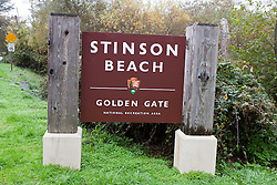 National Park Service sign for Stinson Beach, Golden Gate National Recreation Area, Marin County, California, United States of America