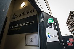 © Licensed to London News Pictures. 15/01/2018. London, UK. A Carillion site office on a construction site in central London. The construction firm has gone into liquidation after losing money on big contracts and running up debts of around £1.5bn. Photo credit: Rob Pinney/LNP