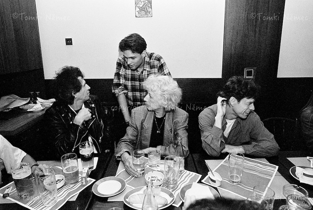 """Olga Havel - first wife of Vaclav Havel. The Rolling Stones are in Prague first time! Olga Havel invited The Rolling Stones to the pub Rybarna in the centre of Prague. Stones were in a good mood and czech friends were very happy to see """"the big legend"""" and drink a beer all together."""
