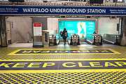 UNITED KINGDOM, London: 28 April 2020 <br /> A desolate Waterloo train station at 10:52am this morning as the wet weather and government guidelines to help prevent the spread of the coronavirus continue to keep people indoors. The weather is set to stay wet for the next few days according to the Met Office.