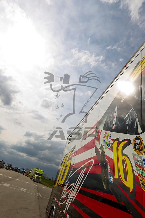 KANSAS CITY, KS - APR 19, 2012:  The 3M hauler waits to park  for the STP 400 at the Kansas Speedway in Kansas City, KS.