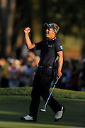 Luke Donald celebrates his victory in the Transitions Chapionship on the Cooperhead Course at Innisbrook Resort and Golf Club on March 18, 2012 in Palm Harbor, Fla. ..©2012 Scott A. Miller.