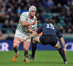 Sam Farmer of Cambridge University in possession - Photo mandatory by-line: Patrick Khachfe/JMP - Mobile: 07966 386802 11/12/2014 - SPORT - RUGBY UNION - London - Twickenham Stadium - Oxford University v Cambridge University - The Varsity Match