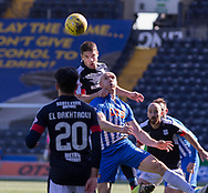 Dundee&rsquo;s Darren O&rsquo;Dea beats Kilmarnock&rsquo;s Conor Sammon in the air - Kilmarnock v Dundee in the Ladbrokes Scottish Premiership at Rugby Park, Kilmarnock, Photo: David Young<br /> <br />  - &copy; David Young - www.davidyoungphoto.co.uk - email: davidyoungphoto@gmail.com