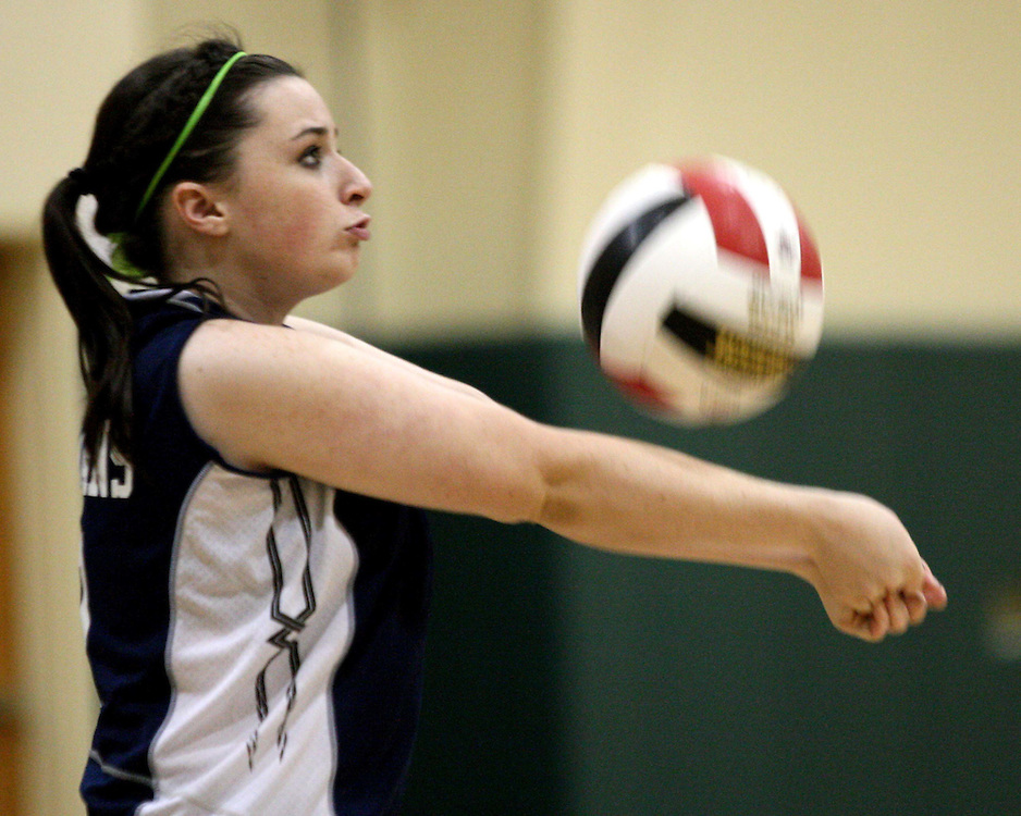 Southwestern's Kelsey Haag during volleyball action against jamestown 9-26-09 photo by Mark L. Anderson