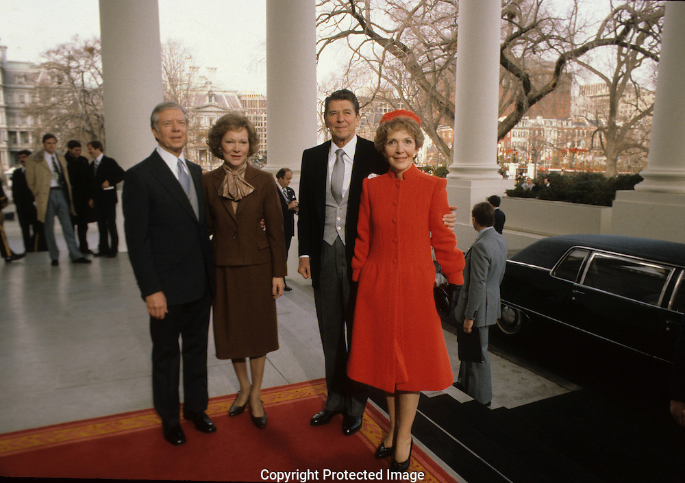 President and First Lady Nancy Reagan and President and First Lady Jimmy Carter pose at the North Portico on the morning of the Inauguration on January 20, 1981...Photograph by Dennis Brack bB22