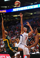 Sep 17 2011; Phoenix, AZ, USA; Phoenix Mercury guard Diana Taurasi (3) puts up a shot against Seattle Storm guard Tanisha Wright (30) during the first half at the US Airways Center.  Mandatory Credit: Jennifer Stewart-US PRESSWIRE.