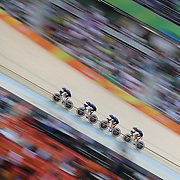 Track Cycling - Olympics: Day 8  Sarah Hammer #57, Kelly Catlin #226, Chloe Dygert #227 and Jennifer Valente #228 of United States of American in action in the Women's Team Pursuit Final during the track cycling competition at the Rio Olympic Velodrome August 12, 2016 in Rio de Janeiro, Brazil. (Photo by Tim Clayton/Corbis via Getty Images)