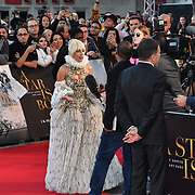 Lady Gaga interview by TV attend A Star Is Born UK Premiere at Vue Cinemas, Leicester Square, London, UK 27 September 2018.