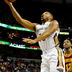 Nov 22, 2013; New Orleans, LA, USA; New Orleans Pelicans shooting guard Eric Gordon (10) shoots against the Cleveland Cavaliers during the first quarter of a game at New Orleans Arena. Mandatory Credit: Derick E. Hingle-USA TODAY Sports
