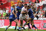 Tony Gigot of Catalans Dragons on the attack against Warrington Wolves during the Ladbrokes Challenge Cup Final match at Wembley Stadium, London<br /> Picture by Stephen Gaunt/Focus Images Ltd +447904 833202<br /> 25/08/2018