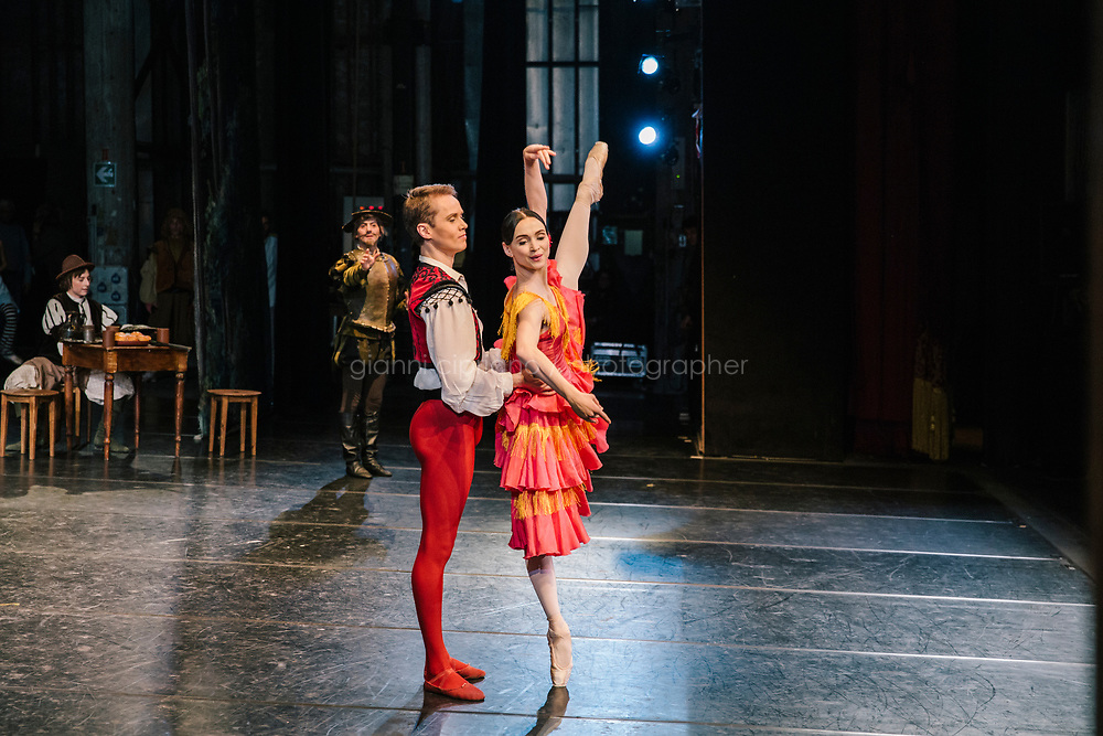 PALERMO, ITALY - 18 FEBRUARY 2018: (R-L) Etoile dancer Olesja Novikova (in the role of Kitri) and primary dancer Leonid Sarafanov (in the role of Basilio) perform during the dress rehearsal of &quot;Don Quixote&quot; at the Teatro Massimo in Palermo, Italy, on February 18th 2018.<br /> <br /> The Teatro Massimo Vittorio Emanuele is an opera house and opera company located  in Palermo, Sicily. It was dedicated to King Victor Emanuel II. It is the biggest in Italy, and one of the largest of Europe (the third after the Op&eacute;ra National de Paris and the K. K. Hof-Opernhaus in Vienna), renowned for its perfect acoustics. It was inaugurated in 1897.