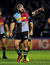 Joe Marler of Harlequins issues instructions - Photo mandatory by-line: Patrick Khachfe/JMP - Mobile: 07966 386802 17/01/2015 - SPORT - RUGBY UNION - London - The Twickenham Stoop - Harlequins v Wasps - European Rugby Champions Cup