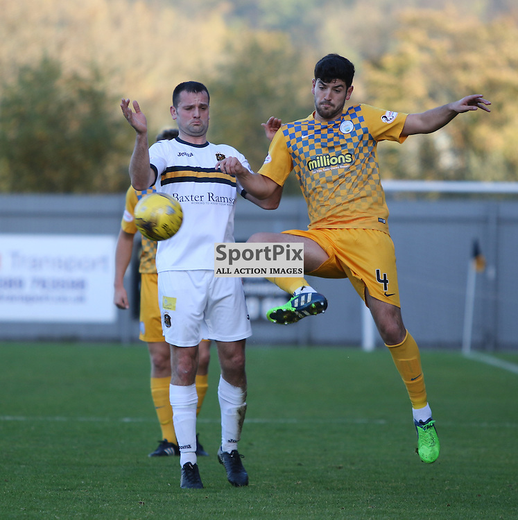 Garry Fleming is just beat to the ball during the Dumbarton FC v Morton FC Scottish Championship 31 October 2015 <br /> <br /> (c) Andy Scott | SportPix.org.uk