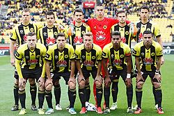 The Phoenix line up for a team photo before the A-League football match at Westpac Stadium, Wellington, New Zealand, Sunday, October 08, 2017. Credit:SNPA / Dean Pemberton **NO ARCHIVING**