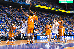 Kentucky guard Tyler Ulis, left, looks for a teammate in the corner during the second half.<br /> <br /> The University of Kentucky hosted the University of Tennessee, Thursday, Feb. 18, 2016 at Rupp Arena in Lexington.