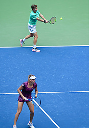 WUHAN, Sept. 28, 2018  Elise Mertens (L) of Belgium and Demi Schuurs of the Netherlands compete during the doubles semifinal match against Shuko Aoyama of Japan and Lidziya Marozava of Belarus at the 2018 WTA Wuhan Open tennis tournament in Wuhan, central China's Hubei Province, on Sept. 28, 2018. Elise Mertens and Demi Schuurs won 2-1. (Credit Image: © Jiang Kehong/Xinhua via ZUMA Wire)
