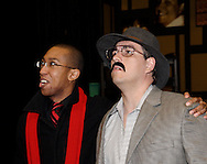 Duante Beddingfield (left) and Danny Lipps during a dress rehearsal of Frank's Life at the Dayton Theatre Guild, Thursday, August 26, 2010.