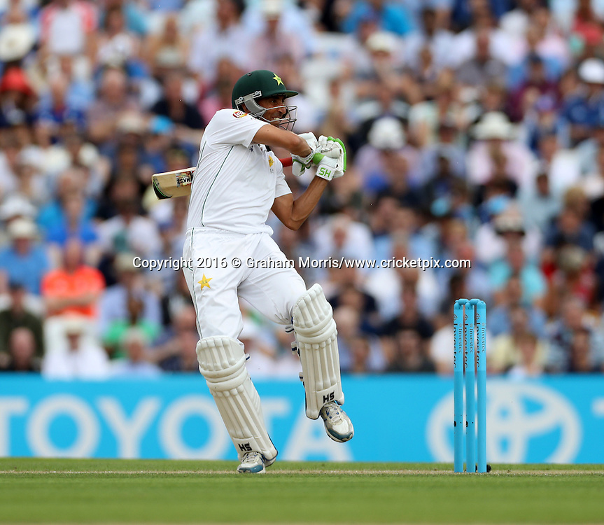 Younis Khan bats during his century in the 4th Investec Test Match between England and Pakistan at the Kia Oval. Photo: Graham Morris/www.cricketpix.com (Tel:+44(0)20 8969 4192; Email: graham@cricketpix.com) 13/08/2016